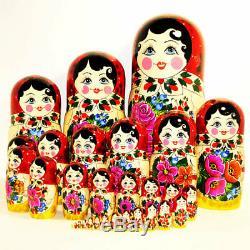 Matryoshka Russian Semenovskaya Nesting dolls Babushka Hand Painted Wood 30 pcs