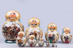 Matryoshka Russian Traditional 10pcs Winter troika Nesting Doll