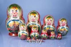 Matryoshka Russian Traditional 15pcs Moscow Nesting Doll Hand painted