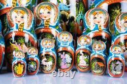 Matryoshka Russian Traditional 30pcs Pushkin's Tales Nesting Doll