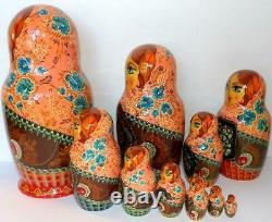 Matryoshka Russian Wooden Nesting Dolls signed Vintage Nesting Dolls