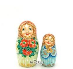 Matryoshka Russian nesting dolls ANGELS GIRLS hand painted 5 signed Pokrovskaya
