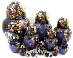 Matryoshka Russian nesting dolls BLACK PURPLE BIG 15 HAND PAINTED signed CHAMOVA