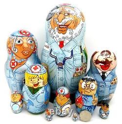 Matryoshka Russian nesting dolls DOCTORS & NURSES 10 FUNNY Doctor Nurse signed