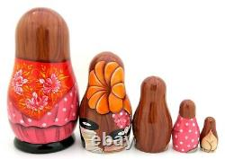 Matryoshka Russian nesting dolls Striptease Exotic Dancer signed HAND PAINTED 5
