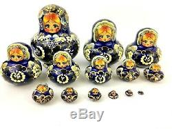 Matryoshka babushka Russian Nesting Dolls 14 piece Signed Alenka Blue Floral