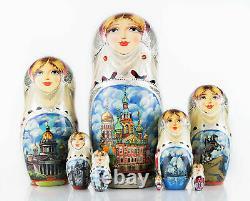 Matryoshka doll 8 pcs Saint-Petersburg Russian nesting dolls Babushka Stack doll
