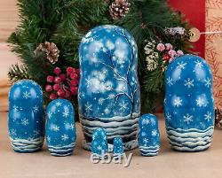Matryoshka nesting dolls Christmas matroschka Snowman Russian stacking dolls