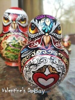 Matryoshka owl, American holidays, Russian nesting dolls 10 piece set, Handmade
