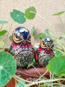 Matryoshka owl, Animals, Painting, Russian nesting dolls 10 piece set, Handmade