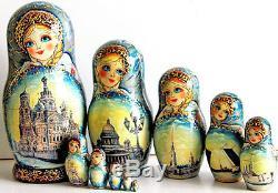 Matryoshka russian nesting doll Saint-Petersburg babushka dolls HANDMADE m315