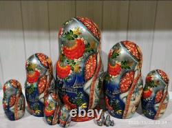 Matryoshka, wooden Russian doll, hand-painted, 10 pieces, 22sm
