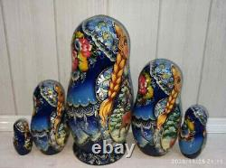 Matryoshka, wooden Russian doll, hand-painted, 5 pieces