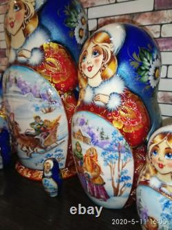 Matryoshka, wooden Russian doll, hand-painted, 7 pieces, 22sm