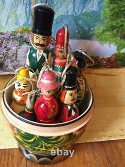 Mid Century Matryoshka Russian Handcraft Wood Nest DollToy, Christmas Ornaments