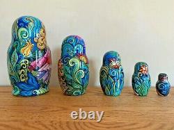 Museum Quality 1998 Julia Talman Russian Nesting Dolls 5 Pcs Signed By Artist
