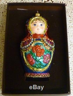 NEWithNIB JAY STRONGWATER CELEBRATION RUSSIAN NESTING DOLL GLASS ORNAMENT