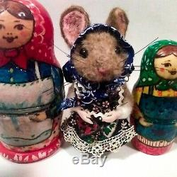 Needle Felted Mouse Russian Nesting Dolls Artist Robin Joy Andreae OOAK
