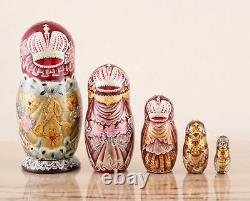 Nested dolls silver and red Empress, Russian nesting dolls, Matryoshka