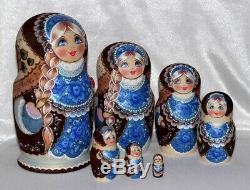 Nesting Doll 7 piece Matryoshka Russian Babushka wooden hand painted Blue
