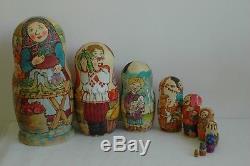Nesting Doll, Handpainted Matryoshka (babushka doll) 10pcs. Russian bazaar