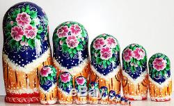 Nesting Doll Russian Matryoshka Babushka nested Folk festivals 15pcs 12 m325