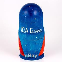 Nesting Doll Wooden Matryoshka Russian Doll Hand Painted Gagarin Astronaut