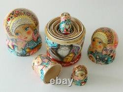 Nesting Dolls Girl with cat Set of 5 (Russian Collection Sacramento) Sale