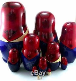 Nesting Dolls Russian Matryoshka Babushka Stacking Wooden Toys New set 12 pcs