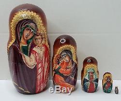 Nesting Dolls, Russian Matryoshka Madonna & Child 10pc Religious Folk Art UNIQUE