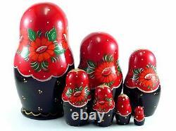 Nesting Dolls Russian Matryoshka Traditional Babushka Stacking New Set 7 pcs 5in