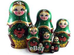 Nesting Dolls Russian Matryoshka Traditional Babushka Stacking New set 8 pcs 6in