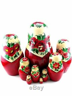 Nesting Dolls Russian Matryoshka Traditional Babushka Stacking Wooden set 9 pcs