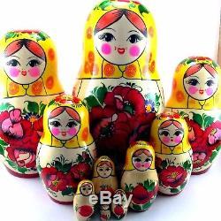 Nesting Dolls Russian Matryoshka Traditional Babushka Wooden Stacking set 10 pcs