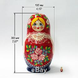 Nesting Dolls Russian Wooden Art 10 Piece 217 Matryoshka Handmade