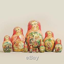 Nesting Dolls Russian Wooden Art 10 Piece 370 Matryoshka Handmade