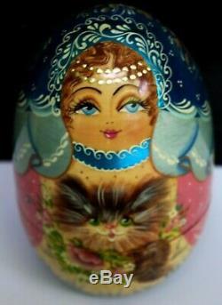 Nesting Russian Doll Matryoshka Babushka Doll Beauty Girl Cat Baby Dolls Signed