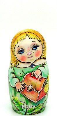 Nesting Russian Dolls Matryoshka Babushka 5 PYROGRAPHY Girls CHMELEVA