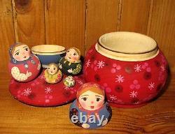 Nesting Russian Dolls Matryoshka Babushka WOODEN Box 5 MINIATURE House