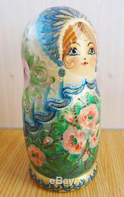 Nesting doll Russian turquoise matryoshka Handpainted Handmade unique 96d