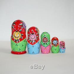 Nesting dolls Gorodets painting traditional russian matryoshka babushka handmade