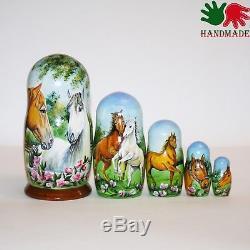 Nesting dolls Horses Landscape signed hand painted matryoshka russian dolls
