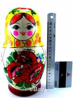 Nesting dolls Russian Matryoshka Babushka Stacking Wooden Toy New set 10 pcs 9in