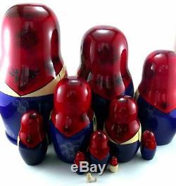 Nesting dolls Russian Matryoshka Babushka Stacking Wooden Toy New set 12 pcs 9in