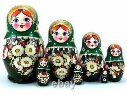 Nesting dolls Russian Matryoshka Babushka Stacking Wooden Toy New set 7 pcs 5in