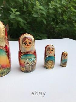 Nesting dolls, Russian doll, Matryoshka doll, Hand painted church Rare Art 7