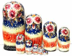 Nesting dolls Snow 10 pcs 10 handmade collectible russian matryoshka m290
