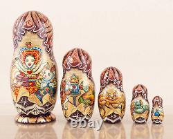 Nesting dolls red Alice in Wonderland fairy tale, Russian matryoshka