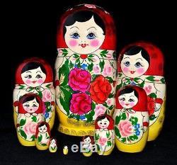New Traditional Russian Nesting Dolls Babushka- Semenov Doll 10 pieces 10
