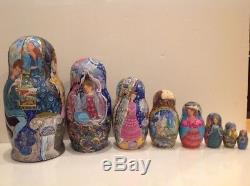 OOAK RUSSIAN 8 pcs NESTING DOLL THIS IS NOT A GOOD WINE E&S GORYACHAYA 1996
